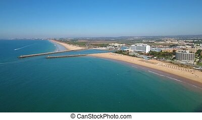 Aerial. Entrance to the tourist port of Vilamoura port...