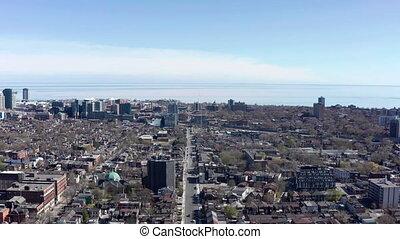Aerial Establishing shot of a Toronto neighborhood during...