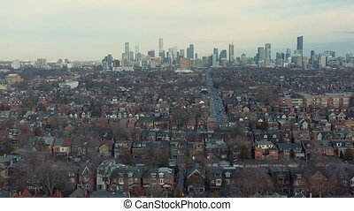Aerial Establishing shot of a West End Toronto Neighborhood in Late Fall.