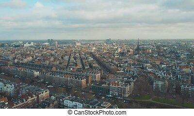 Aerial establishing shot of Amsterdam, Netherlands - Aerial...