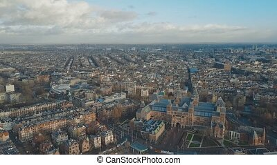 Aerial establishing shot of Amsterdam, the Netherlands -...