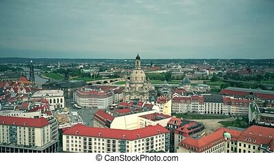 Aerial establishing shot of Dresden, Germany