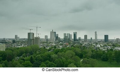 Aerial establishing shot of Frankfurt am Main, Germany -...