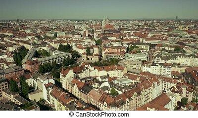 Aerial establishing shot of Munich, the capital of Bavaria, Germany