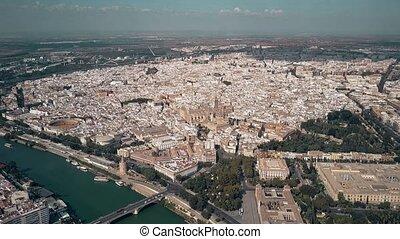 Aerial establishing shot of Seville, Spain - Aerial...