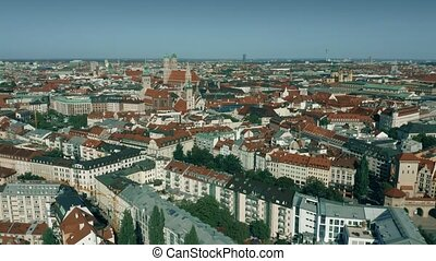 Aerial establishing shot of the city of Munich, Germany