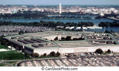 Aerial establishing shot of the Pentagon building with a...