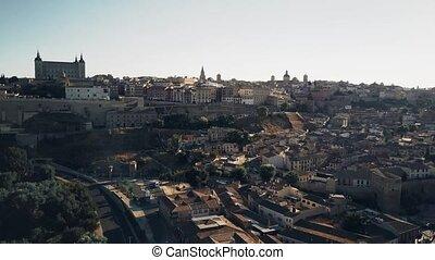 Aerial establishing shot of Toledo, Spain