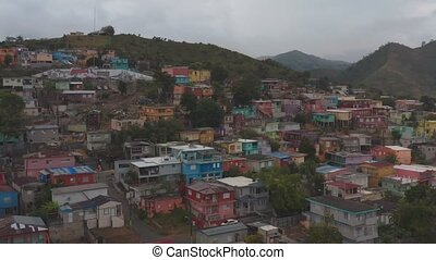 Aerial establishing shot of Yauco, Puerto Rico after a series of earthquakes. Cinematic 4K footage.