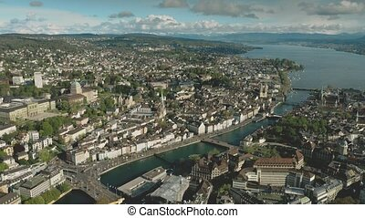 Aerial establishing shot of Zurich, Switzerland - Aerial...