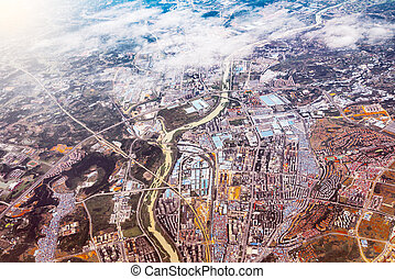 Aerial evening view of Chengdu district.