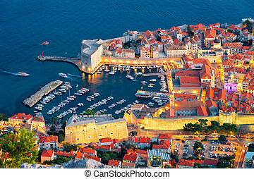 Aerial evening view of Dubrovnik Old town and Adriatic Sea