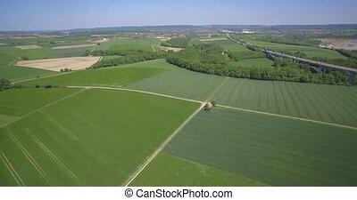 Aerial, Farmland And German Autobahn Bridge - Native...