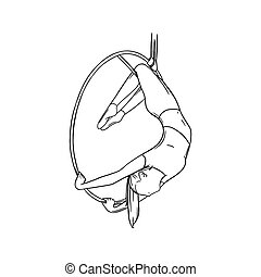 Aerial female gymnast in hoop. Aerial gymnastics stunt. Sketch vector illustration