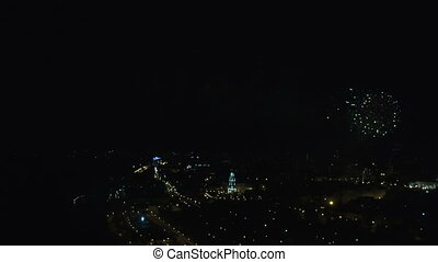 Aerial fireworks during the celebration of Victory Day