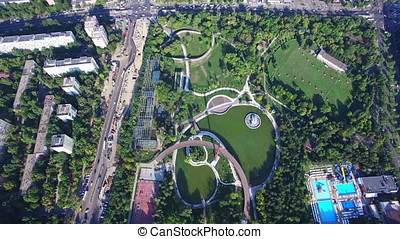 Aerial flight above Moghioros park in Bucharest Romania