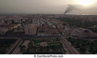 Aerial flight above Valencia, Spain