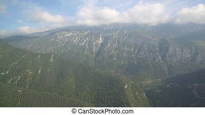 Aerial, Flight Along The Mountains Around Mirador Gresolet...