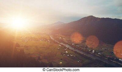 Aerial Flight in Carpathian mountains. 4k, 30fps
