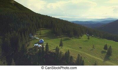 Aerial Flight in Carpathians mountains. 4k, 30fps - Flight...