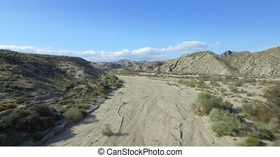 Aerial, Flight over a dry riverbed