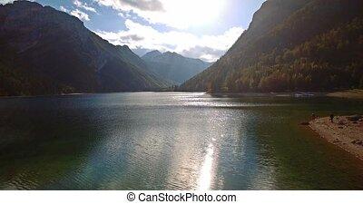 Aerial, Flight Over Amazing Lago Del Predil,...