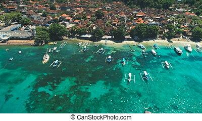 Aerial Flight over Crystal Ocean Harbor Bay, Fishing Boats,...