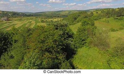 Aerial Flight Over Fly Ukraine Fields Trees Beauty Nature Sky Farm Agriculture UHD 4K