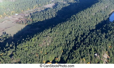 Aerial flight over forrest fields North America - Vancouver...