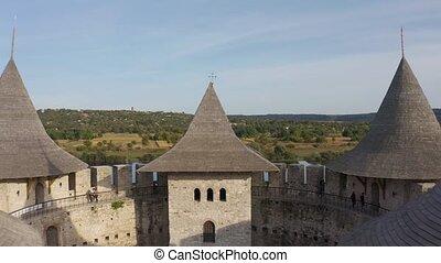 Aerial flight over medieval fort in Soroca, Republic of ...