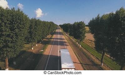Aerial: flight over road