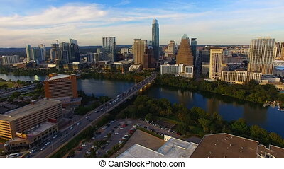 Aerial Flight Over The Colorado River Austin Texas - Rush...