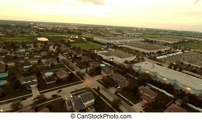 Aerial flight residential houses - Aerial view houses in...
