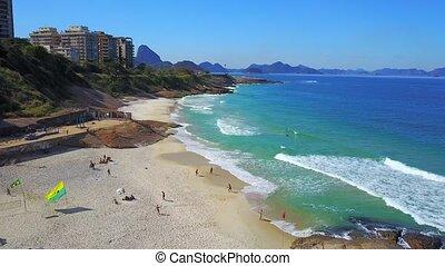 Aerial Fly By Over Beaches Ipanema Copacabana Rio de Janeiro...
