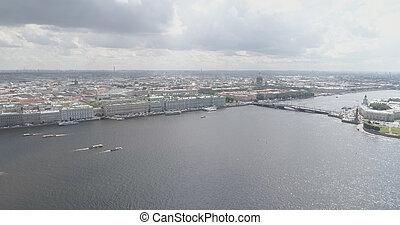 Aerial fly over St. Petersburg neva with view of dvortsovaya naberezhnaya in summer day