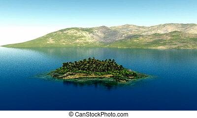 aerial fly shot of beautiful island