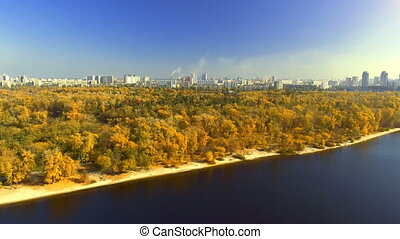 AERIAL: Flying above the stunning colorful treetops on sunny...