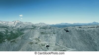 Aerial, Flying Above The Summit Of Monte Jafferau, Italy -...