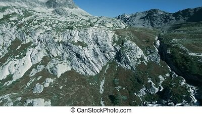 Aerial, Flying Above Waterfalls At Rifugio Scarfiotti, Italy...