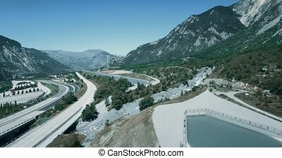 Aerial, Flying along Autoroute De La Maurienne, France -...