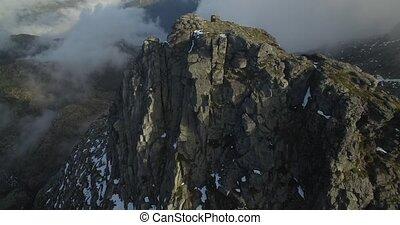 Aerial, Flying Along Mountain Range In Serra De Estrela,...