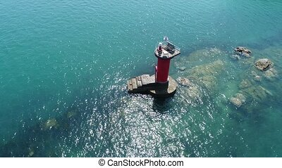 Aerial flying around old lighthouse - Aerial drone flying...