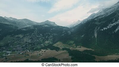 Aerial, Flying At Col De La Croix, Switzerland - bleached...