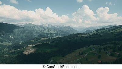 Aerial, Flying At Jaunpass, Switzerland - bleached bypass -...