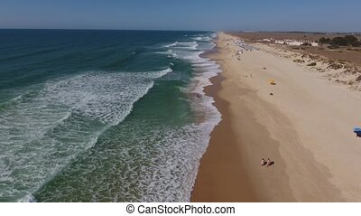 Aerial. Flying drones over the beach Barril. Tavira Portugal
