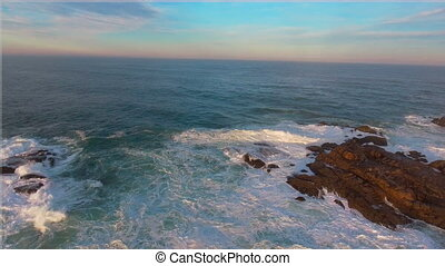AERIAL: Flying over the cliffs at seaside