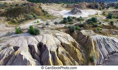 Aerial: flying over the sand desert