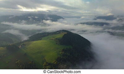 Aerial foggy country landscape in morning light above clouds with beautiful colors at sunrise. Tilt down on meadow and mist forest