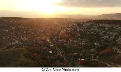 Ancient city among the rocks - Aerial footage Ancient city...