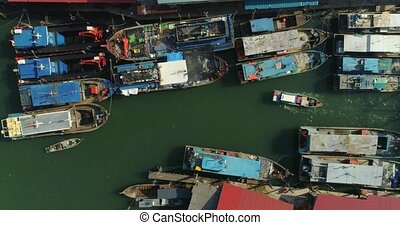 Boats fishermen at anchor - Aerial footage Boats fishermen...